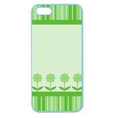 Floral Stripes Card In Green Apple Seamless Iphone 5 Case (color) by Simbadda