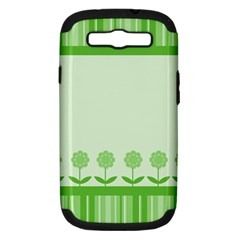 Floral Stripes Card In Green Samsung Galaxy S III Hardshell Case (PC+Silicone)