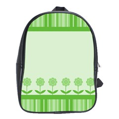 Floral Stripes Card In Green School Bags (xl)  by Simbadda