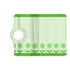 Floral Stripes Card In Green Kindle Fire Hd (2013) Flip 360 Case by Simbadda