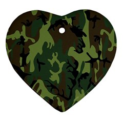 Military Camouflage Pattern Ornament (heart) by Simbadda