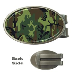 Military Camouflage Pattern Money Clips (oval)  by Simbadda