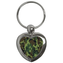 Military Camouflage Pattern Key Chains (heart)  by Simbadda