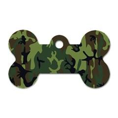 Military Camouflage Pattern Dog Tag Bone (two Sides) by Simbadda