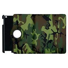 Military Camouflage Pattern Apple Ipad 2 Flip 360 Case by Simbadda