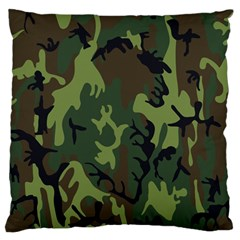 Military Camouflage Pattern Large Flano Cushion Case (two Sides) by Simbadda