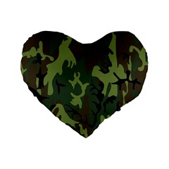 Military Camouflage Pattern Standard 16  Premium Flano Heart Shape Cushions by Simbadda