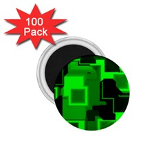 Green Cyber Glow Pattern 1 75  Magnets (100 Pack)  by Simbadda