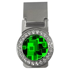Green Cyber Glow Pattern Money Clips (cz)  by Simbadda