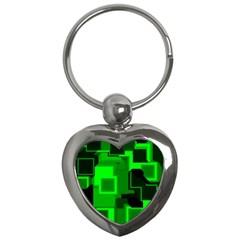 Green Cyber Glow Pattern Key Chains (heart)  by Simbadda