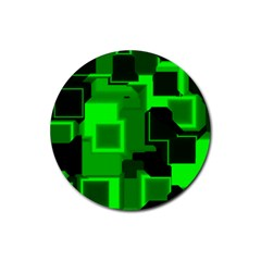 Green Cyber Glow Pattern Rubber Round Coaster (4 Pack)  by Simbadda
