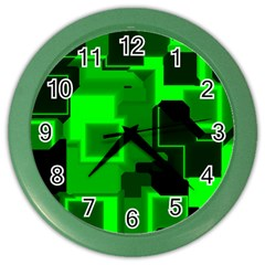 Green Cyber Glow Pattern Color Wall Clocks by Simbadda