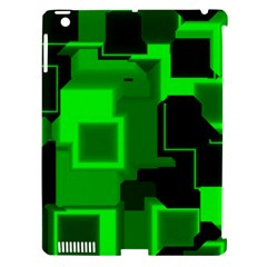 Green Cyber Glow Pattern Apple Ipad 3/4 Hardshell Case (compatible With Smart Cover) by Simbadda
