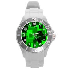 Green Cyber Glow Pattern Round Plastic Sport Watch (l) by Simbadda