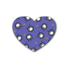 Rockets In The Blue Sky Surrounded Rubber Coaster (heart)  by Simbadda