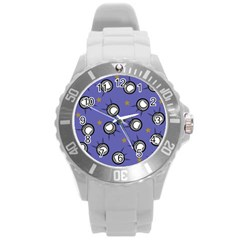Rockets In The Blue Sky Surrounded Round Plastic Sport Watch (l)