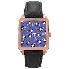 Rockets In The Blue Sky Surrounded Rose Gold Leather Watch  by Simbadda