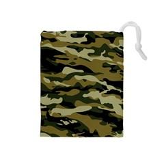 Military Vector Pattern Texture Drawstring Pouches (medium)  by Simbadda