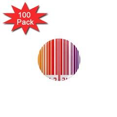 Colorful Gradient Barcode 1  Mini Magnets (100 Pack)  by Simbadda