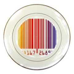 Colorful Gradient Barcode Porcelain Plates by Simbadda