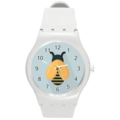 Animals Bee Wasp Black Yellow Fly Round Plastic Sport Watch (m) by Alisyart