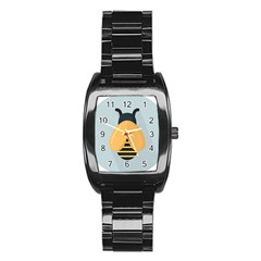 Animals Bee Wasp Black Yellow Fly Stainless Steel Barrel Watch by Alisyart