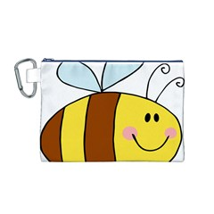 Animals Bee Wasp Smile Face Canvas Cosmetic Bag (m) by Alisyart