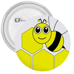 Bee Wasp Yellow 3  Buttons by Alisyart
