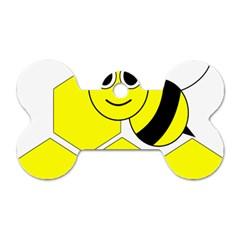 Bee Wasp Yellow Dog Tag Bone (two Sides) by Alisyart