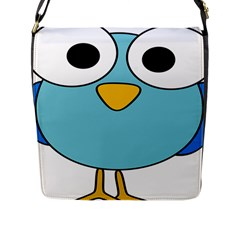 Bird Big Eyes Blue Flap Messenger Bag (l)  by Alisyart