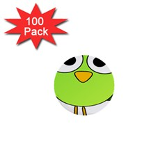 Bird Big Eyes Green 1  Mini Buttons (100 Pack)  by Alisyart