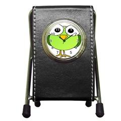 Bird Big Eyes Green Pen Holder Desk Clocks by Alisyart