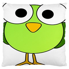 Bird Big Eyes Green Large Cushion Case (two Sides) by Alisyart