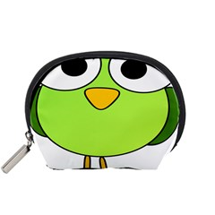Bird Big Eyes Green Accessory Pouches (small)  by Alisyart
