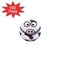 Animals Cow  Face Cute 1  Mini Magnets (100 Pack)  by Alisyart