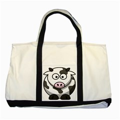 Animals Cow  Face Cute Two Tone Tote Bag by Alisyart