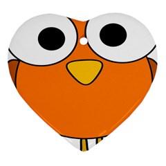 Bird Big Eyes Orange Heart Ornament (two Sides) by Alisyart