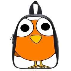 Bird Big Eyes Orange School Bags (small)  by Alisyart
