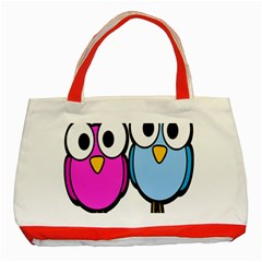 Bird Big Eyes Pink Blue Classic Tote Bag (red) by Alisyart
