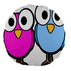 Bird Big Eyes Pink Blue Large 18  Premium Round Cushions by Alisyart