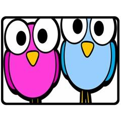 Bird Big Eyes Pink Blue Double Sided Fleece Blanket (large)  by Alisyart