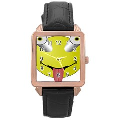 Bug Eye Tounge Rose Gold Leather Watch  by Alisyart