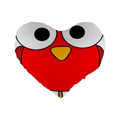 Bird Big Eyes Red Standard 16  Premium Flano Heart Shape Cushions by Alisyart