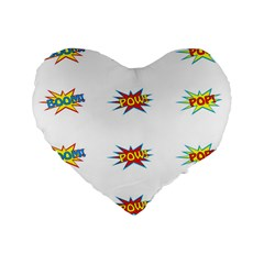 Boom Pow Pop Sign Standard 16  Premium Heart Shape Cushions by Alisyart