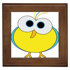 Bird Big Eyes Yellow Framed Tiles by Alisyart