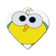 Bird Big Eyes Yellow Dog Tag Heart (one Side) by Alisyart