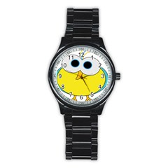 Bird Big Eyes Yellow Stainless Steel Round Watch by Alisyart