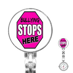 Bullying Stops Here Pink Sign Stainless Steel Nurses Watch by Alisyart