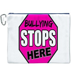 Bullying Stops Here Pink Sign Canvas Cosmetic Bag (xxxl) by Alisyart