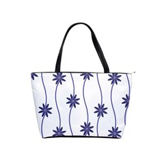 Geometric Flower Seamless Repeating Pattern With Curvy Lines Shoulder Handbags by Simbadda
